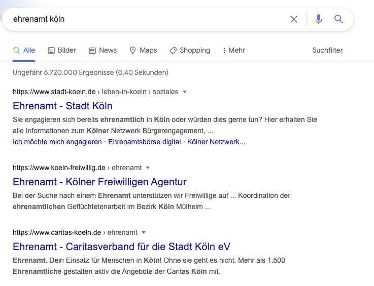 """Screenshot für die Suchergebnisse des Suchbegriffs """"Ehrenamt Köln"""""""